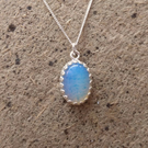 Opalite Crown Bezel Pendant Necklace