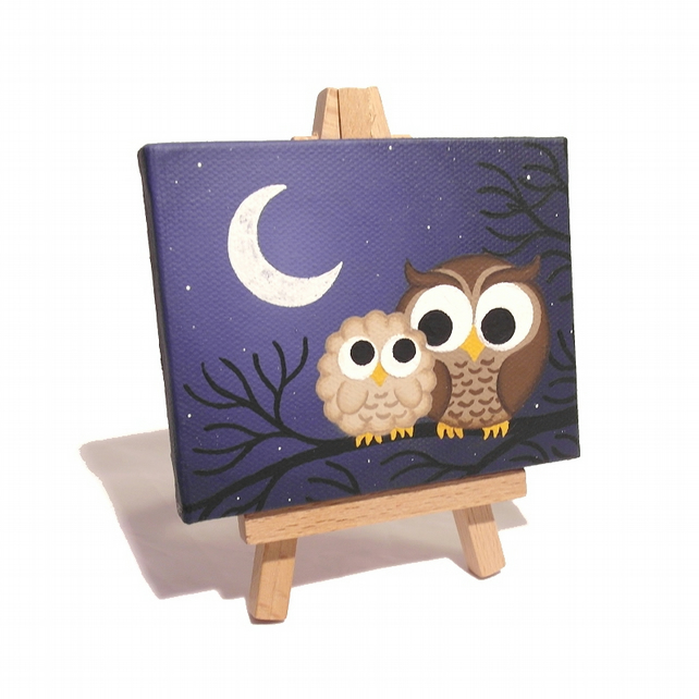 Cartoon Owl and Chick Mini Painting with Easel