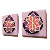 Pair of Purple Pysanky Fridge Magnets