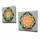 2 Green and Orange Pysanky Fridge Magnets