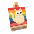 Rainbow Cat Original Art on Miniature Canvas