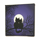 Moonlit Cats in Love Painting