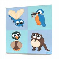 Stream Animals Nursery Decor - original acrylic art of cute British wildlife
