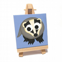 Cute Badger Miniature Painting on Easel