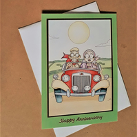Anniversary Card with vintage Car