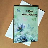 Floral Anniversary Card with Butterflies