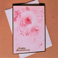 Floral Anniversary Card with Pink Roses