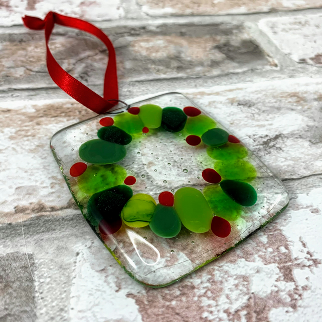 Fused Glass Christmas Wreath