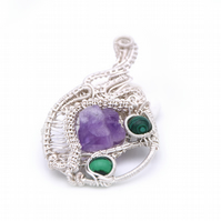 Multi stoned pendant, amethyst and malachite