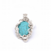 Chunky wire wrapped turquoise pendant; wearable art