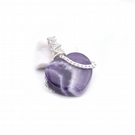 Pendant - amethyst heart, wire wrapped silver plated heart, semi precious stone
