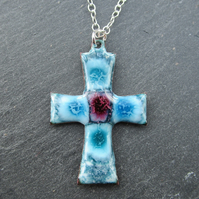 Pretty Blue Enamelled Cross Necklace