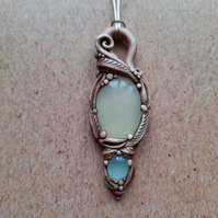 Pretty Bowenite with Aqua Chalcedony Crystal and Polymer Clay Pendant