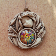 Symbology Goddess Flora Polymer Clay and Floral Landscape Cabochon Pendant