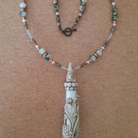 Snow Quartz Vial Beaded Necklace with Seashell and Aurora Borealis Chatons