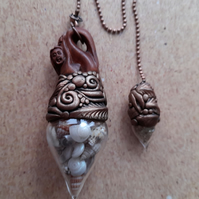 Gorgeous Mermaid Pendulum with Epoxy Clay, Seashell Vial and Citrine Vial Charm