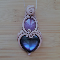 Amethyst with Titanium Aura Heart and Polymer Clay Pendant
