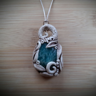 Amazonite and Polymer Clay Enchanted Garden Pendant