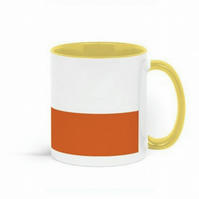 orange coffee mug with colored handle, modern ceramic mug with orange colourbloc