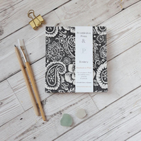 Paisley Handprinted Watercolour Sketchbook or Journal & Fabriano Paper