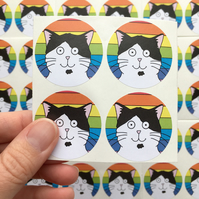 Black and White Cat Stickers (Our Dave - Rainbow) Set of 4