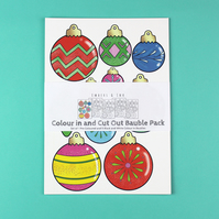 Colour In and Cut Out Cardboard Bauble Pack