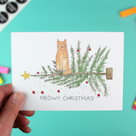 Meowy Christmas Card - 'Oh Christmas Tree' single with envelope