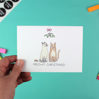 Meowy Christmas Card - 'Mistletoe' single with envelope