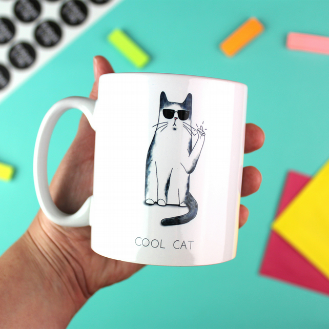 Cool Cat Ceramic Mug