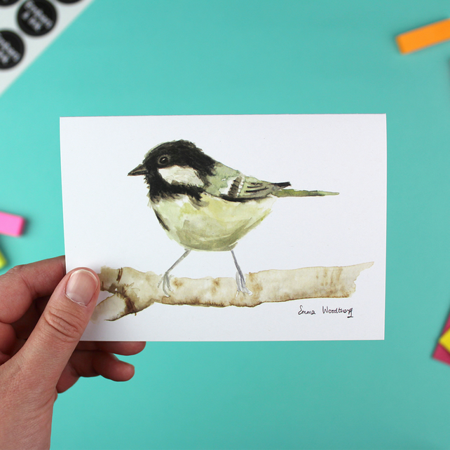 Coal Tit Greetings Card - A6 Blank Inside