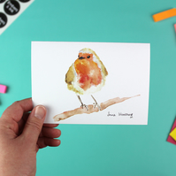 Robin on a Branch Greetings Card - A6 Blank Inside