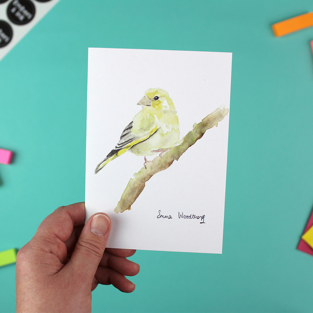 Greenfinch Greetings Card - A6 Blank Inside