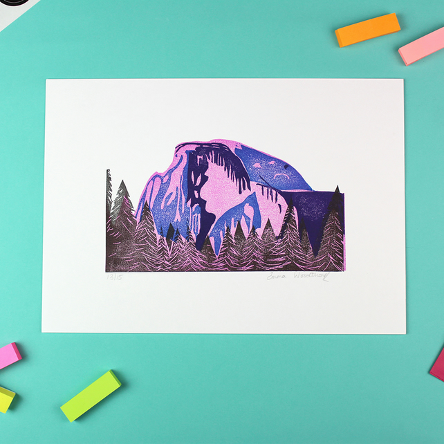 Half Dome Lino Print Limited Edition