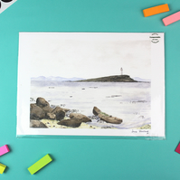 Kildonan Lighthouse, Arran Seascape, Unframed Giclee Reproduction, A4
