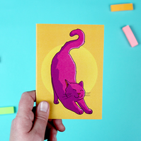 Pink Stretching Cat A6 Notebook