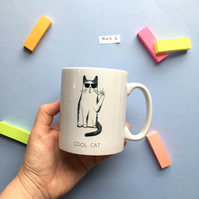 SLIGHT SECONDS SALE Cool Cat Mug 'Mug 1'
