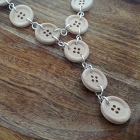 Button Wood & Sterling Silver Necklace