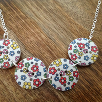 Button Wood & Sterling Silver Necklace - Flowers