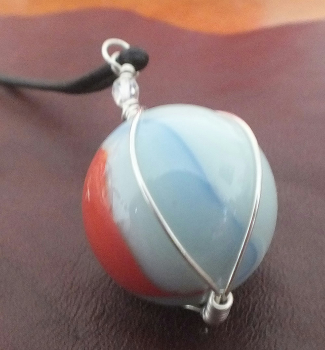 Wire wrapped mabled pendant