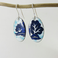 Enamel on Copper Dangle Earrings with Tree Decals and Transparent Turquoise