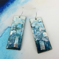 Silver Foil, Transparent Enamel on Textured Copper Dangles and Silver Wires