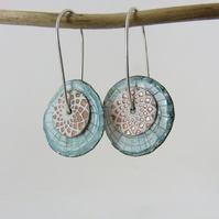 Double Copper Disc with Enamel and Textured Pattern on Silver Wires
