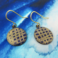 Enamel and Hand Drawn Gold Shimmer on Round Copper Dangle Earrings