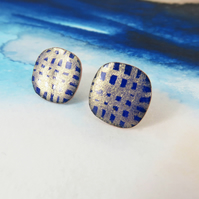 Enamel and Hand Drawn Gold Shimmer on Square Copper Stud Earrings