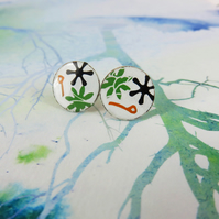 Unique Collaged Round Studs in Enamel and Copper