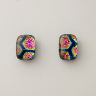 dichroic glass and sterling silver post and scroll earrings DGE100