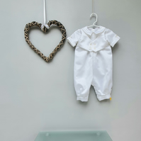 6-9 Months Christening Romper 'Milo', Baby Baptism Suit, Infant Wedding Wear.