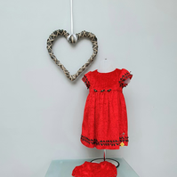 9-12 months Baby Girl Dress. Red Occasion Dress. Infant Party 'Felicity' Dress.