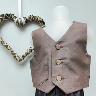 9-12 month Boy Christmas Waistcoat, Infant Wedding Wear, Child Party Waistcoat.