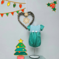 9-12 Months Christmas Bubble Romper. Infant Wedding Wear. Birthday Romper.